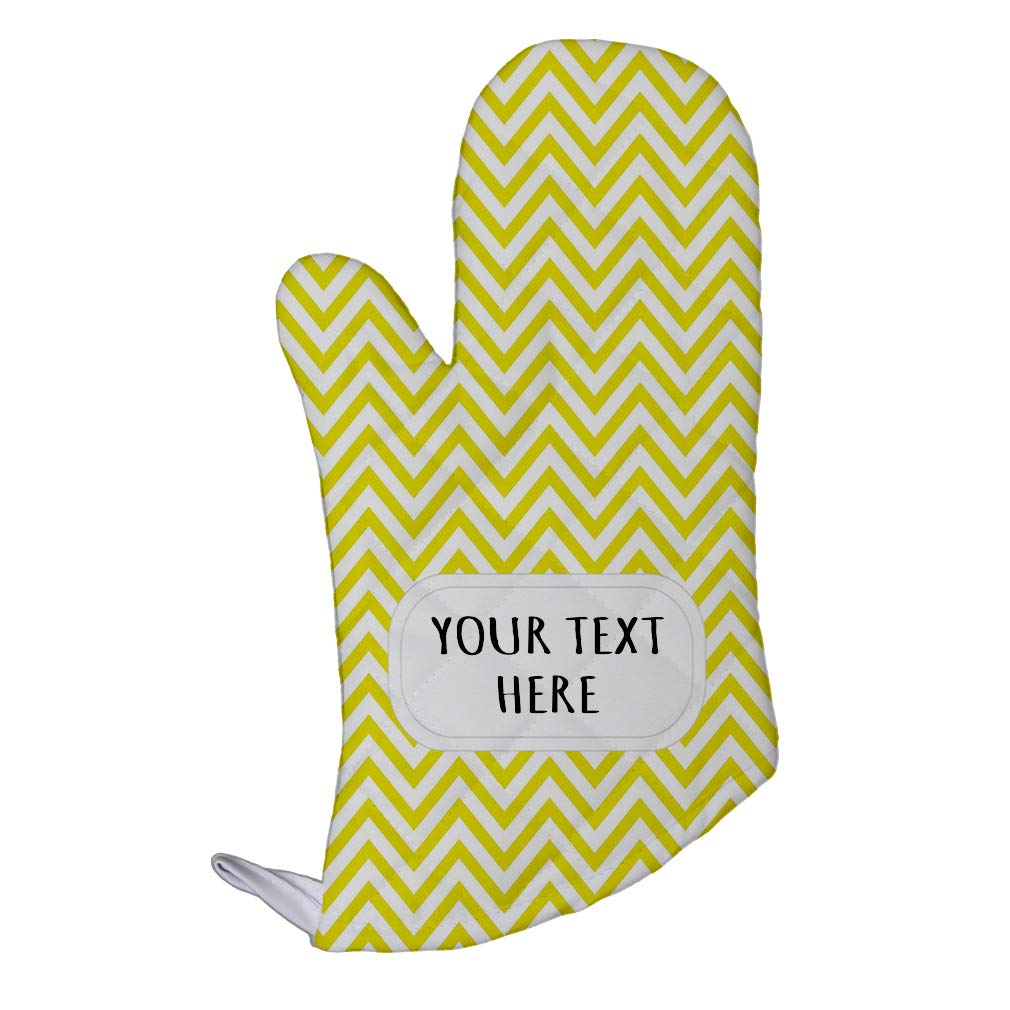 Style In Print Polyester Oven Mitt Custom Chevron 3 Pattern Golden White Adults Kitchen Mittens