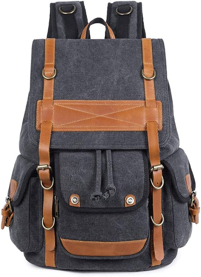AiKuJia Backpack Mens Casual Canvas Laptop Backpack Vintage High Capacity Rucksack for Travel Daily Outdoors for Men Women Color : Green, Size : Free Size