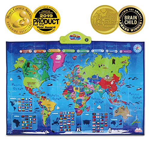 BEST LEARNING i-Poster My World Interactive Map - Educational Talking Toy for Boys and Girls Ages 5 to 12 Years Old - Ideal Gift for ()