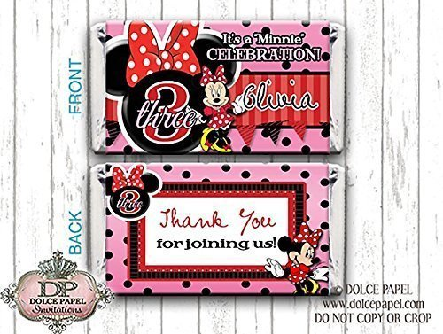 10 Red MINNIE MOUSE Custom Birthday Mini Hershey Candy Bar Wrappers]()