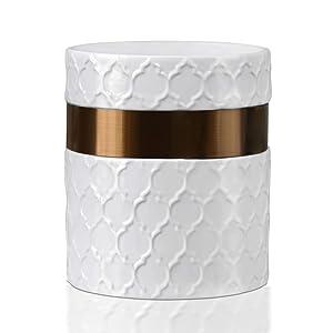 """Utensil Holder-6 x 7"""" Jumbo Utensil Holder Caddy-Large Kitchen Utensil Holder White Ceramic Modern Farmhouse Kitchen Decor-Utensil Crock with Stainless Steel Antique Copper Strip-by Home Acre Designs"""