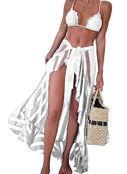b2911f8754c EVALESS Woman Sexy Ruffle Pareo Sarong Cover-up Sheer Wrap Long Stripes  Beach Skirt One