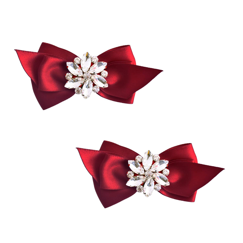 ElegantPark CQ 2 Pcs Shoe Clips Satin Bow Crystal Design Wedding Party Accessories Decoration Red