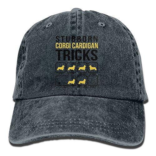 Richard Stubborn Corgi Cardigan Tricks Unisex Cotton Washed Denim Leisure Cap Hat Adjustable Navy