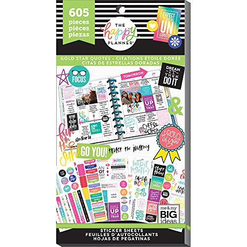 me & my BIG ideas PPSV-75-3048 Value Pack Stickers, Gold Star Quote (Quote Rectangle Sticker)