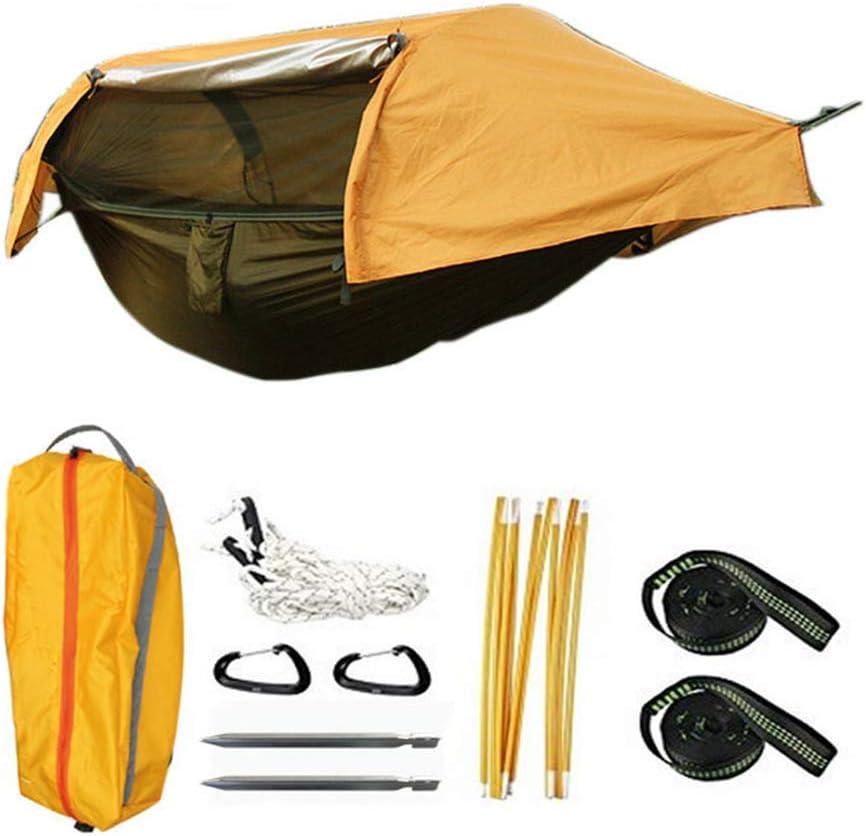 EC Outdoor ハンモック 蚊帳付き 防水カバー付き 防風 吊し テント 収納バッグ付き コンパクト ポータブル アウトドア キャンプ バーベキュー 登山 釣り 旅行 オレンジ