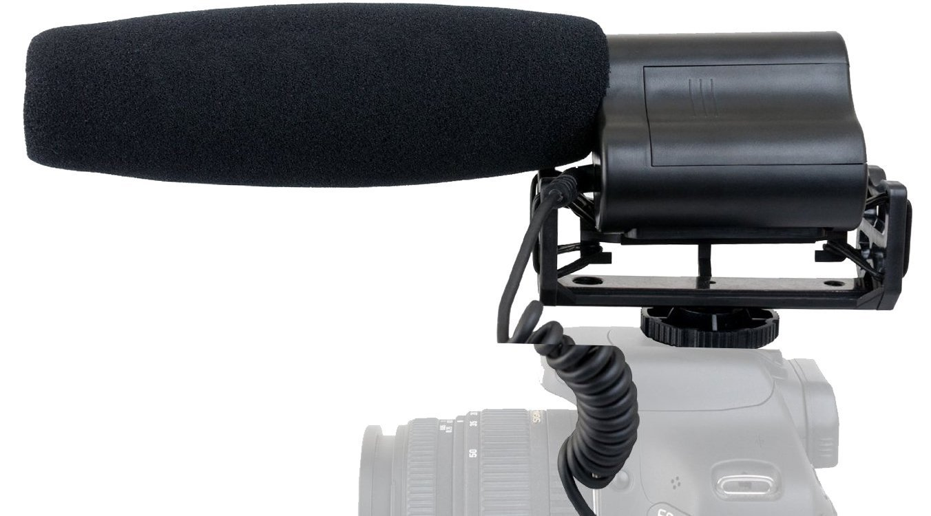 Shotgun Microphone (Stereo) with Dead Cat Muff for Leica V-LUX (Typ 114) by Hila