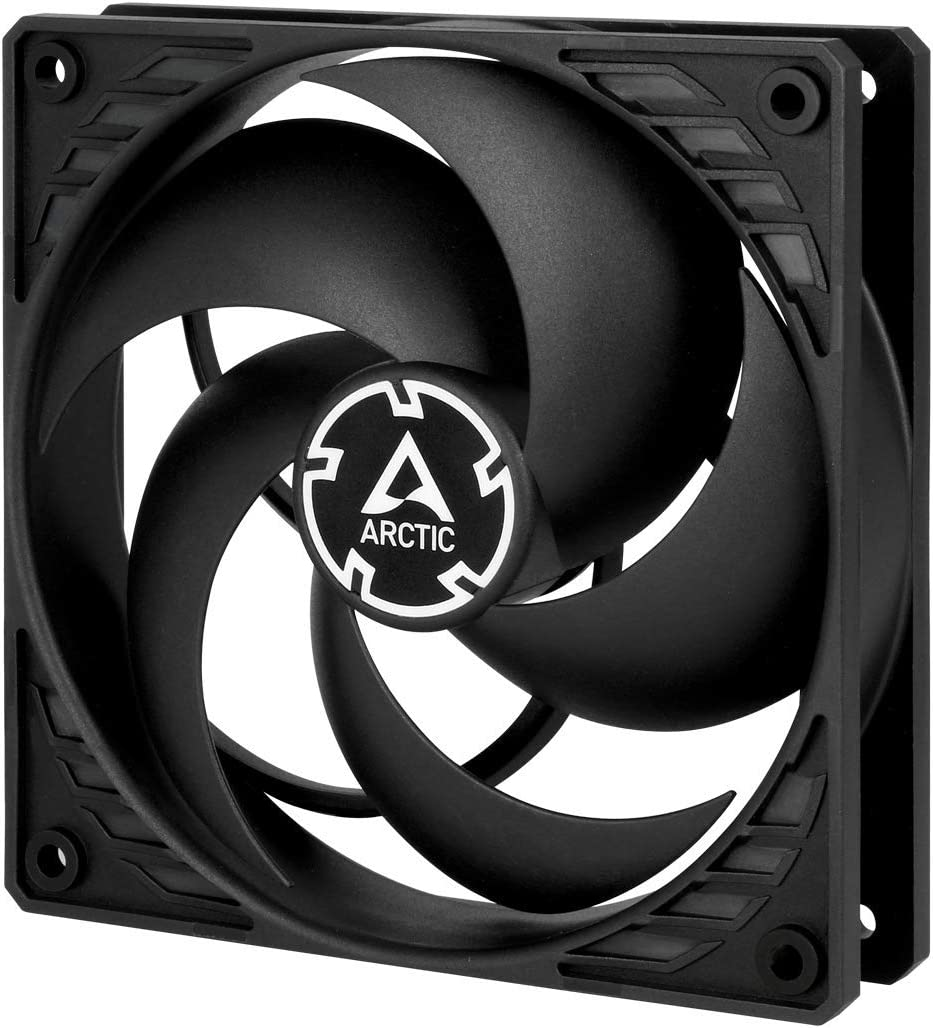 ARCTIC P12 PWM PST - 120 mm Case Fan with PWM Sharing Technology (PST), Pressure-optimised, Quiet Motor, Computer, Fan Speed: 200-1800 RPM - Black/Black