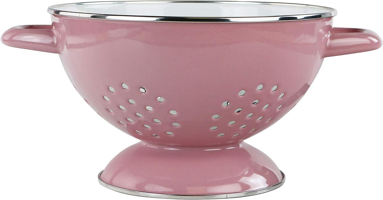 Calypso Basics by Reston Lloyd 3 Quart Enamel-on-Steel Colander, Medium, Pink