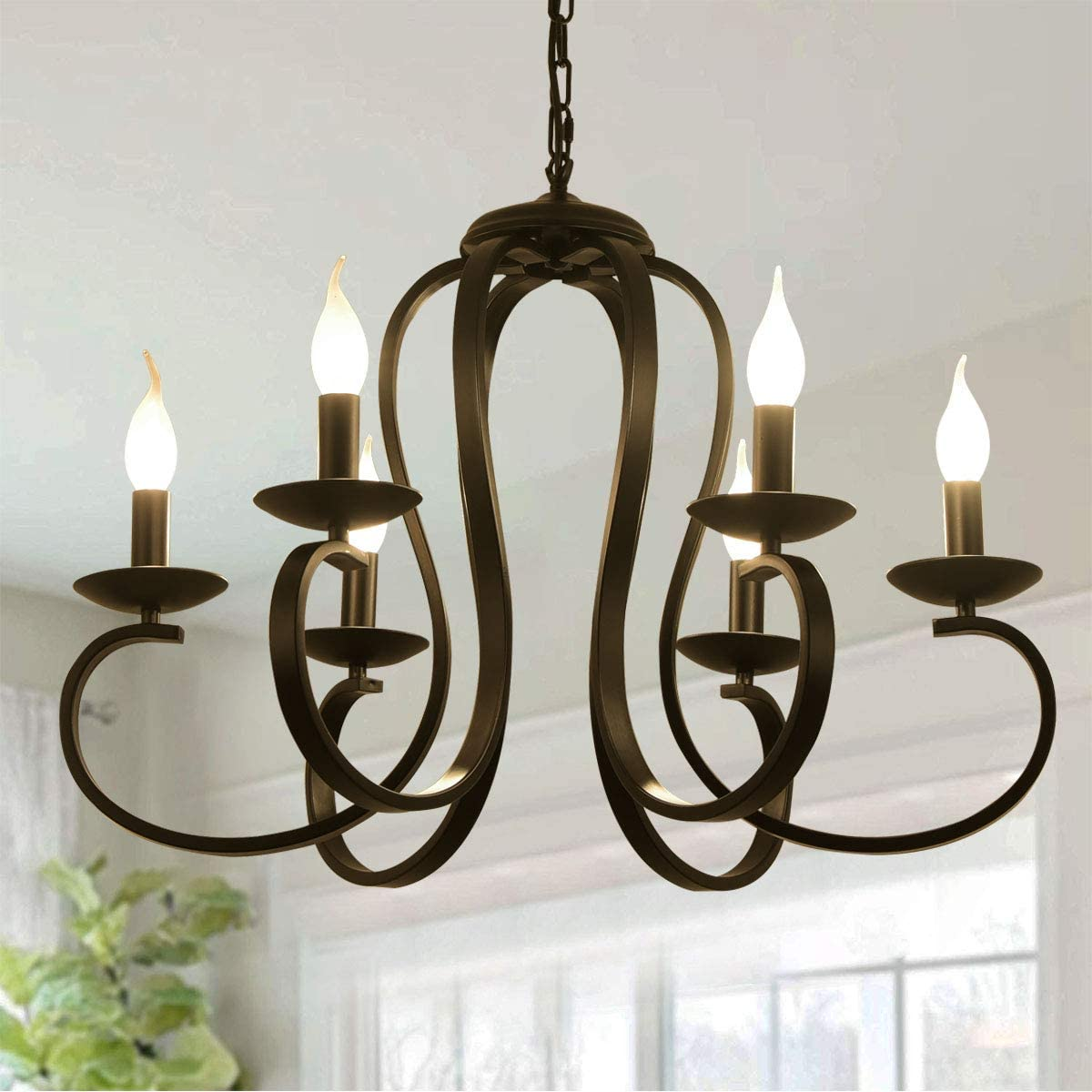 Ganeed 6 Lights Chandeliers,French Country Vintage Metal Chandelier Lighting,Candle-Style Pendant Light with Black Finish for Farmhouse,Dining Room,Kitchen Island,Foyer
