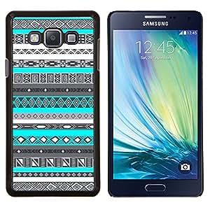 KLONGSHOP // Cubierta de piel con cierre a presión Shell trasero duro de goma Protección Caso - Patrón azul del trullo de nativos americanos - Samsung Galaxy A7 A7000 //