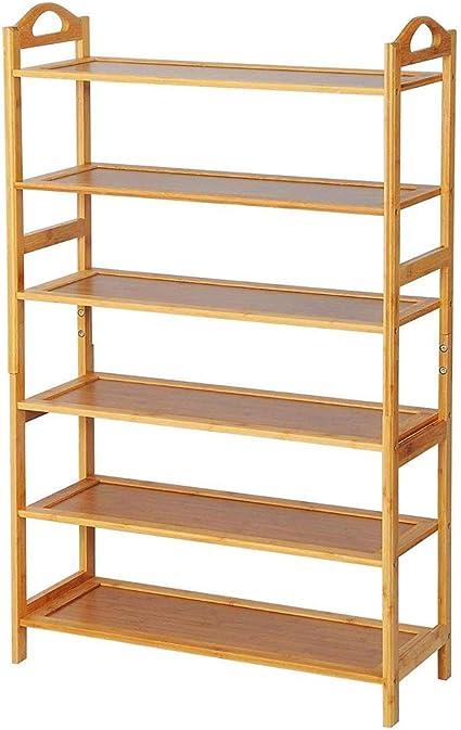 Bakaji Estantería de 6 estantes de Madera de bambú de diseño Moderno para salón, salón, casa, Oficina, tamaño 108 x 68 x 26 cm, Color bambú Natural