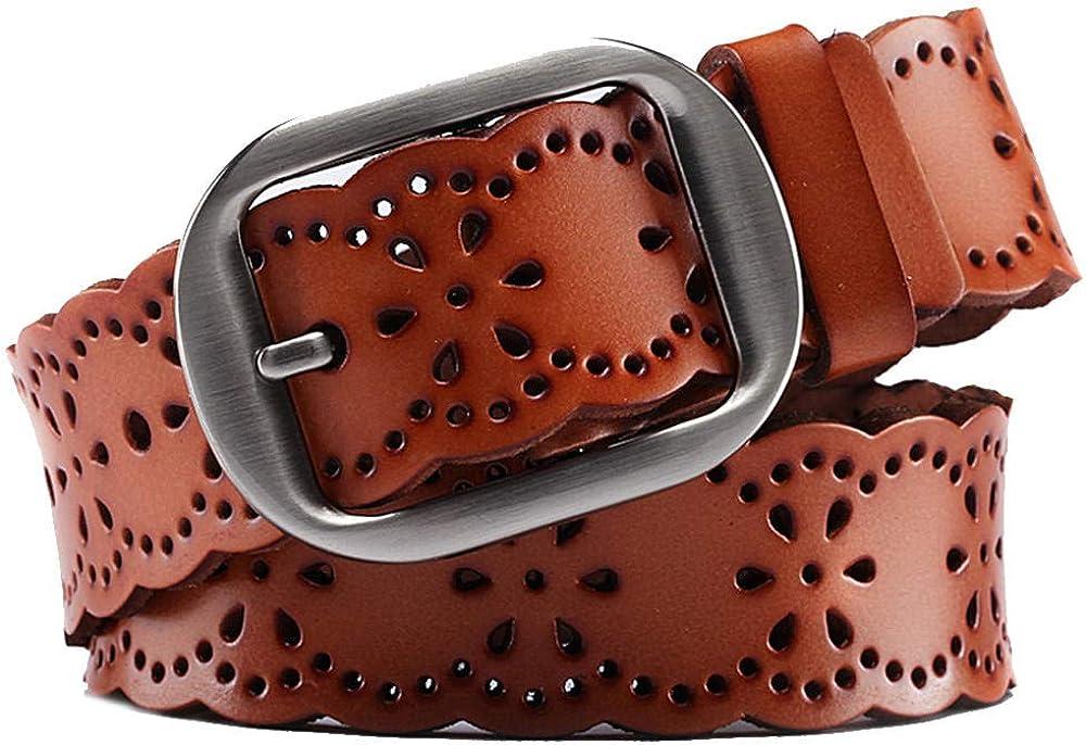 DSCHZ Sencillo y eleganteCinturón de cuero con hebilla hueca y hebilla casual para mujer Cinturón de moda para estudiantes