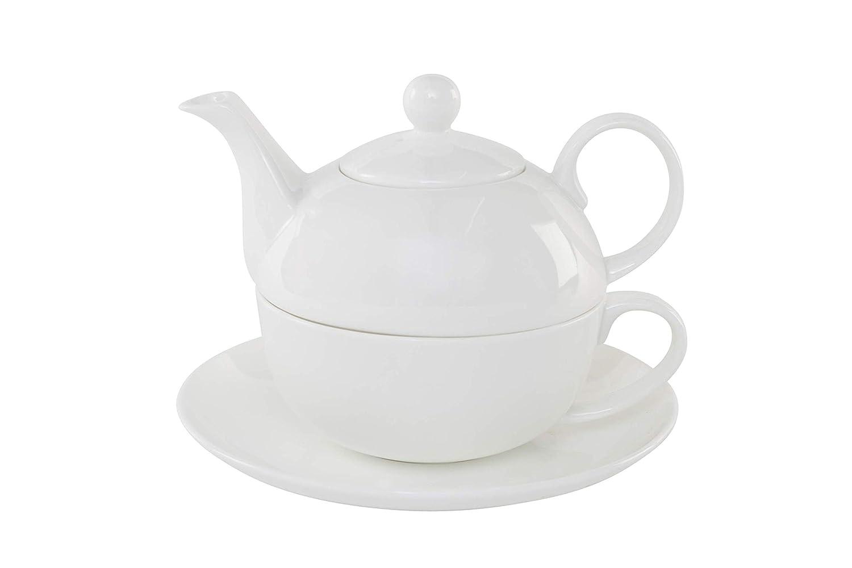Classic Plain White Fine Bone China Tea for One Set