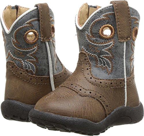 Roper Infant-Boys' Daniel Distressed Saddle Vamp Cowbabies Boot Brown 4 D (Saddle Kids Roper)