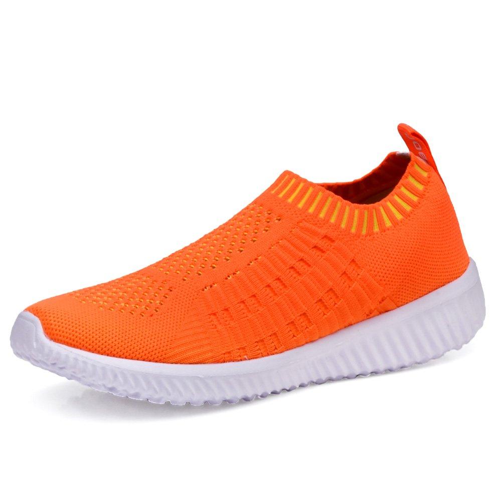 TIOSEBON Women's Athletic Shoes Casual Mesh Walking Sneakers - Breathable Running Shoes B06Y5KFWXP 7.5 M US|6701 Orange