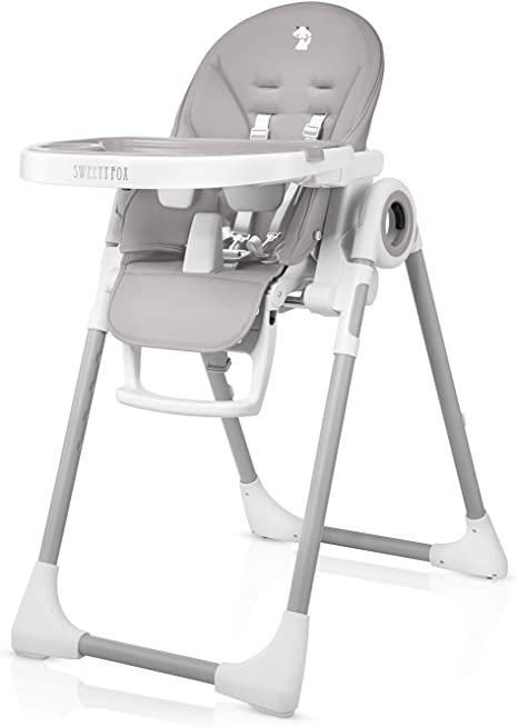 Adjustable, Folding, Baby High Chair Baby Highchairs with 7 Different Heights and Adjustable Seat with 5 Different Positions High Chairs with