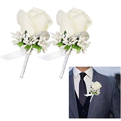 3e21d3dc6 LSKY 2Pcs Rose Corsage and Boutonniere Set Boutonniere Buttonholes Groom  Groomsman Best Man Rose Wedding Flowers