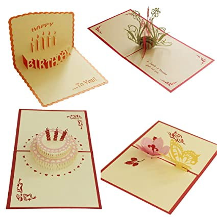 Pack Of 4 Pop Up Card Paper Craft For Wife Husband Kids Friend Girlfriend Graduation Laser