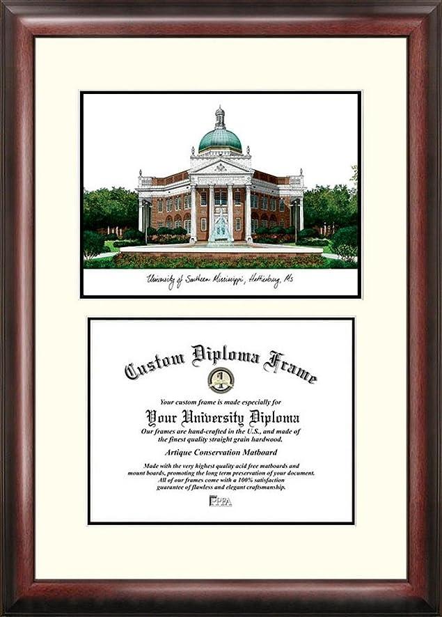 Amazon.com : Southern Miss USM Mahogany Diploma Frame & Lithograph ...