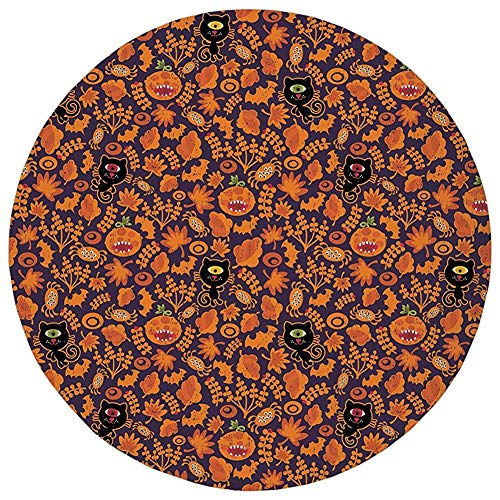 Round Rug Mat Carpet,Vintage Halloween,Halloween Themed Elements on a Purple Background Scary Mosters Decorative,Dark Purple Orange,Flannel Microfiber Non-slip Soft Absorbent,for Kitchen Floor Bathroo ()