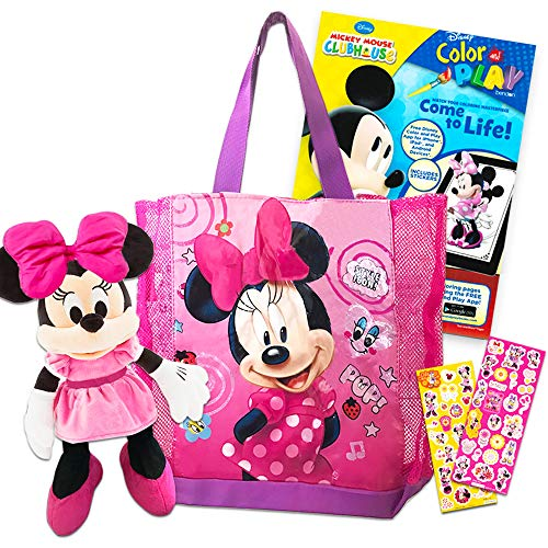 Disney Mickey Mouse and Minnie Mouse Reusable Tote Bag Super Set ~ Minnie Mouse Tote Bag, Minnie Mouse Plush Puppet, Mickey Mouse Coloring Book, and Minnie Mouse Stickers (Minnie Mouse Party Supplies)]()