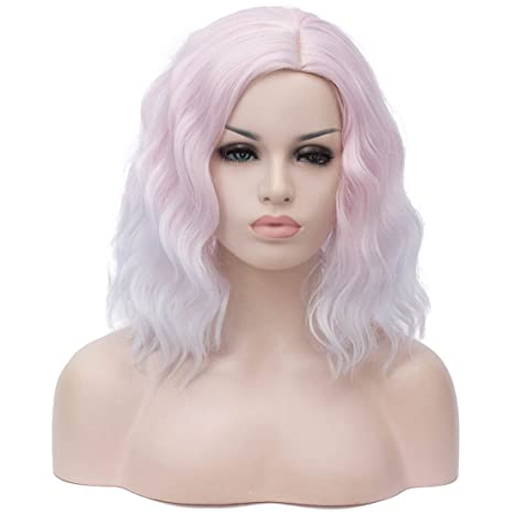 """Beauwig 14"""" Short Bob Wavy Curly Ombre White Wig For Women Cosplay Halloween Come With Wig Cap (Ombre White) by Beauwig"""