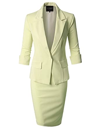 Le3no Womens Formal Office Business Blazer And Skirt Suit Set Made