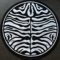 Animal Skin Print Zebra Round Area Rug Black and Snow White Design 132(4 feet X4 feet Round)