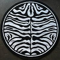 Animal Skin Print Zebra Round Area Rug Black and Snow White Design 132(4 feet X4 feet Round)