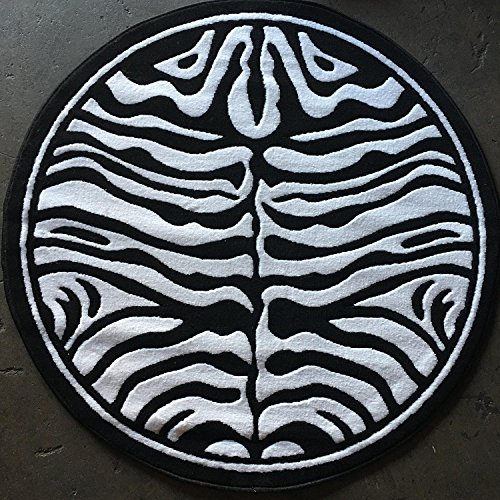 Animal Skin Print Zebra Round Area Rug Black and Snow White Design 132(4 feet X4 feet Round) - Round Zebra Print Rug