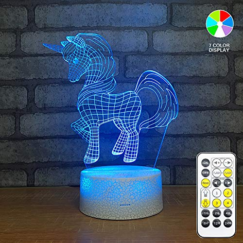 3D Led Illusion Lamp,Unicorn 3D Night Light,Touch Table Desk Light with Remote Control, Perfect Gifts Toys for Children Kids ()