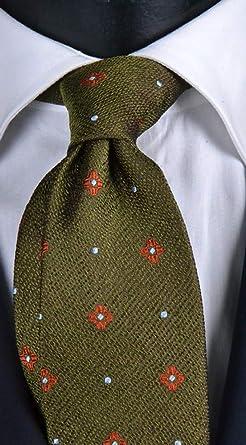 Corbata de hombre verde con micro fantasía naranja y celeste ...