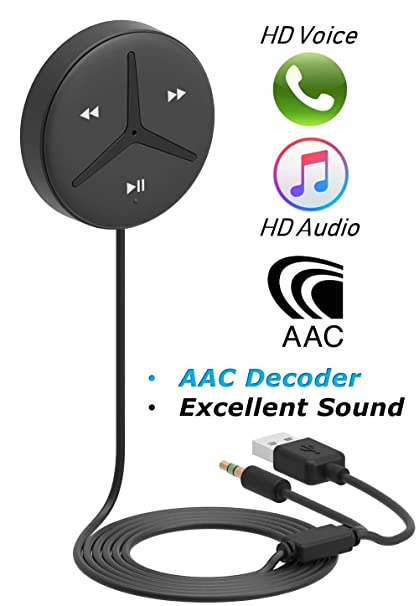 [Upgraded] Aston SoundTek A1+,Excellent Sound,3 5mm Aux Bluetooth  Receiver,Car Handsfree,AAC Codec,Music Streaming for Car and Home  Theater,Voice