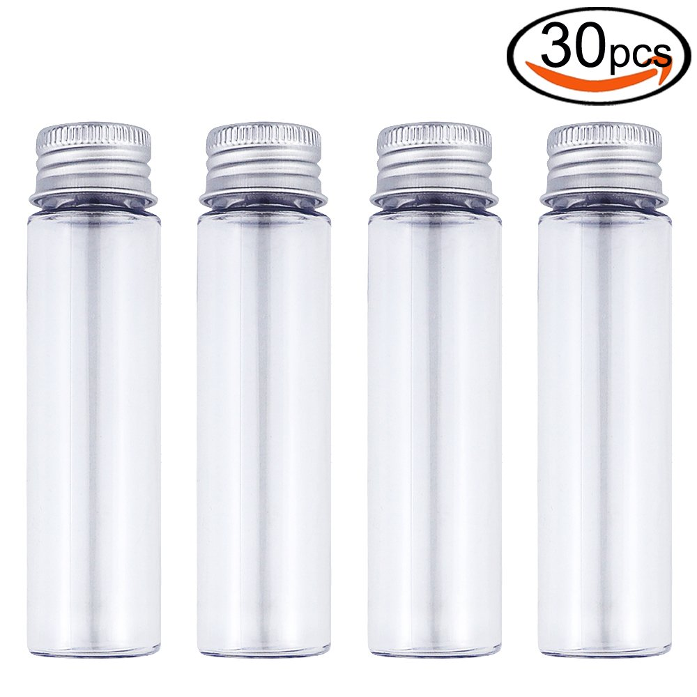 50ml Clear Flat Plastic Test Tubes with Screw Caps, Pack of 20 by DEPEPE