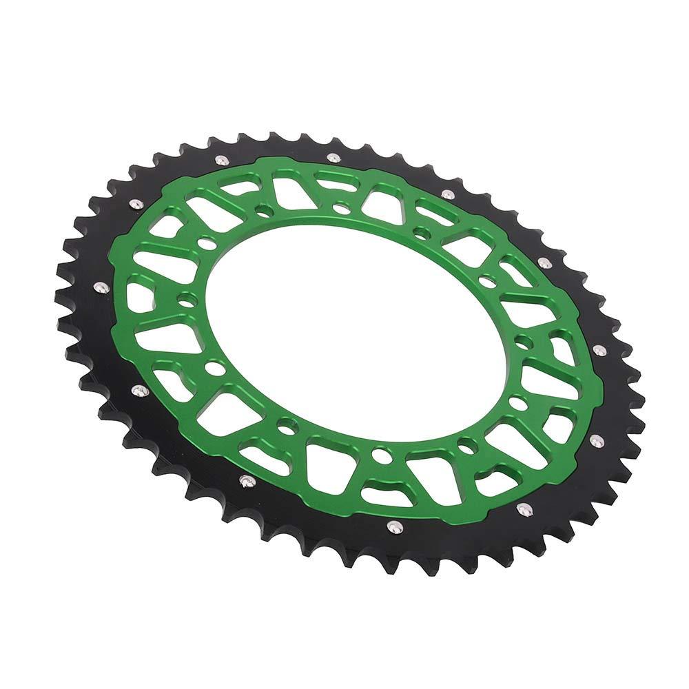 CNC 48T Teeth Rear Chain Sprocket For Kawasaki Suzuki KDX200 KDX220R KDX250 KLX250 KLX300R KLX450R KLX650 KX125 KX250 KX250F KX450F KX500 RMZ250 KDX KLX KX 200 250 650 Dirt Bike Green