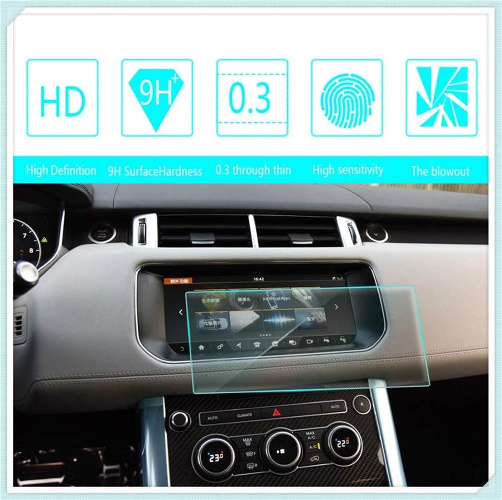 Car Navigation Screen Protector 9H Center Control Touchscreen Anti-Scratch Tempered Glass Clear Touch 0.3mm HD for Range Rover Sport 2017 10.2Inch