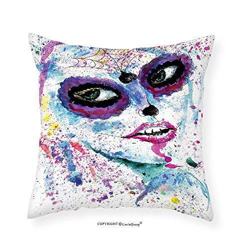 VROSELV Custom Cotton Linen Pillowcase Girly Decor Grunge Halloween Lady with Sugar Skull Make Up Creepy Dead Face Gothic Woman Artsy Print Bedroom Living Room Dorm Decor Blue Purple (Girly Makeup For Halloween)