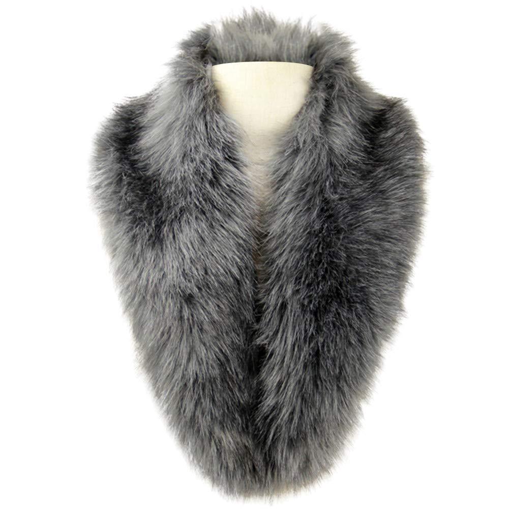 Shawls & Wraps | Fur Stole, Lace, Fringe Dikoaina Extra Large Womens Faux Fur Collar for Winter Coat $19.99 AT vintagedancer.com