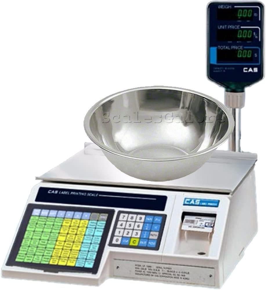 CAS LP-1000NP Label Printing Scale with Pole Legal for Trade with Produce Bowl, 30 x 0.01 lb