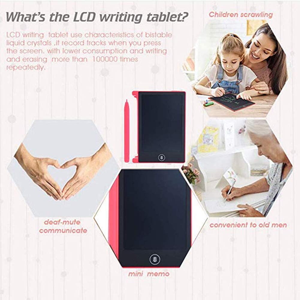 JXFS LCD Writing Tablet Pad 4.4 Inch Electronic Drawing Writing Board for Kids Adults Portable Magnetic eWriter Handwriting Paper Doodle Board Digital-Black
