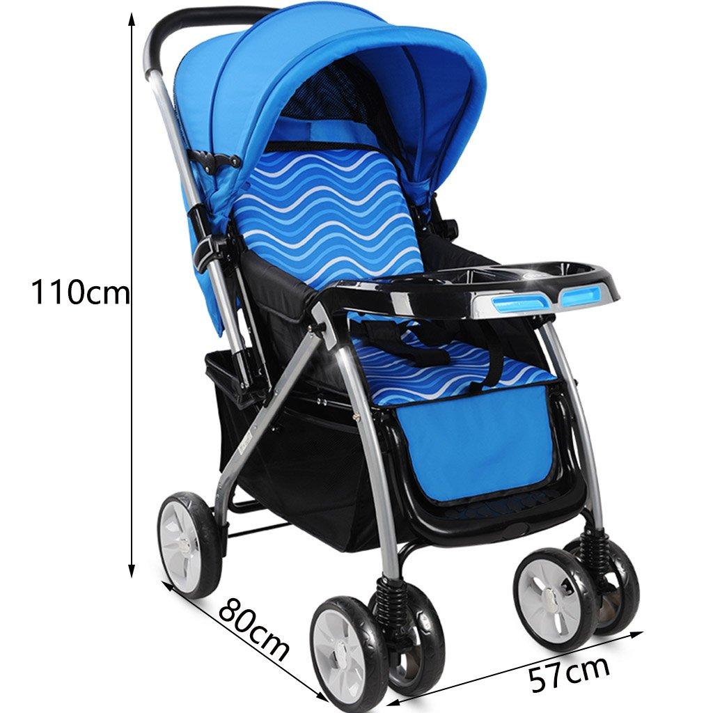 ZXLDP Sillas de paseo Paisaje de alta cochecito de bebé/ puede sentarse o mentir dobló la carretilla multidireccional de dos ruedas de la cuatro-rueda del ...