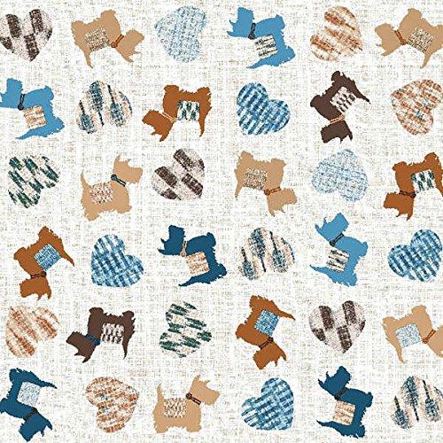 Perritos y corazones Tela por metros de loneta estampada 0,50 x 2,80 m