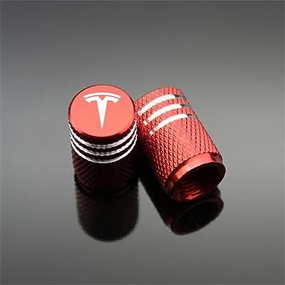 Qingtech 1111 Red Tesla Tyre Valve Caps, 4 Pack: Automotive