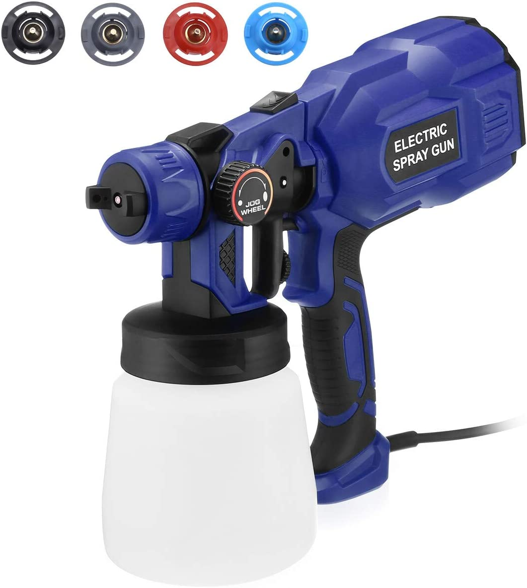 Powerextra Paint Sprayer-750 Watts High Power HVLP Spray Gun with 4 Nozzles & 3 Patterns Lightweight for Home,Furniture, Fence, Car, Bicycle, Chair, Watering