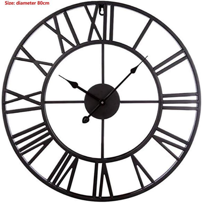 Reloj de pared, Creative Home Cafe Reloj simple Reloj retro de hierro forjado Reloj de número romano,Negro,80cm