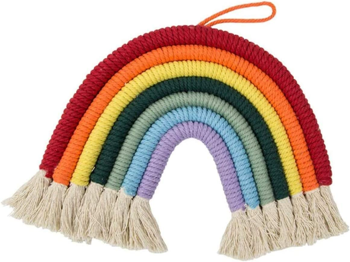 Decor Hand Woven Rainbow Macrame Tapestry Wall Hanging Nursery Room Cloud Home