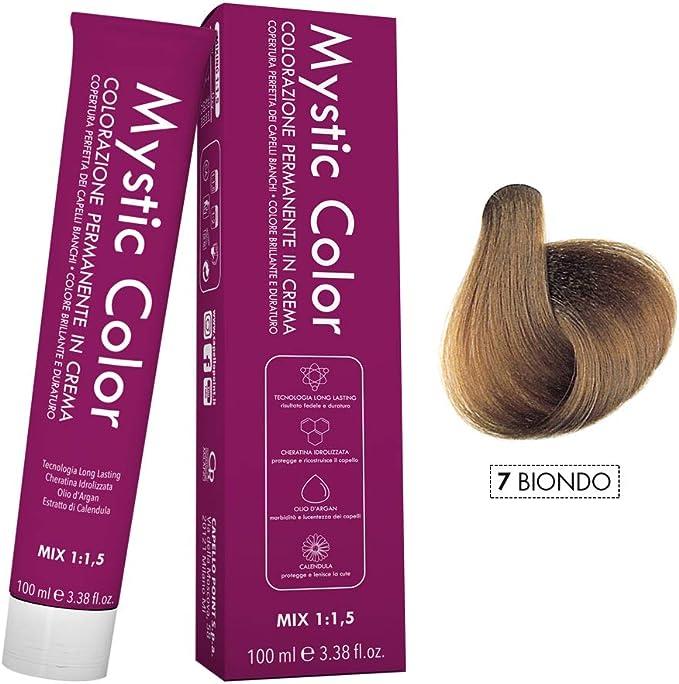 Mystic Color - Coloración Permanente en Crema con Aceite de Argán y Caléndula - Color Natural y Duradero - Tono 7 Rubio - 100 ml