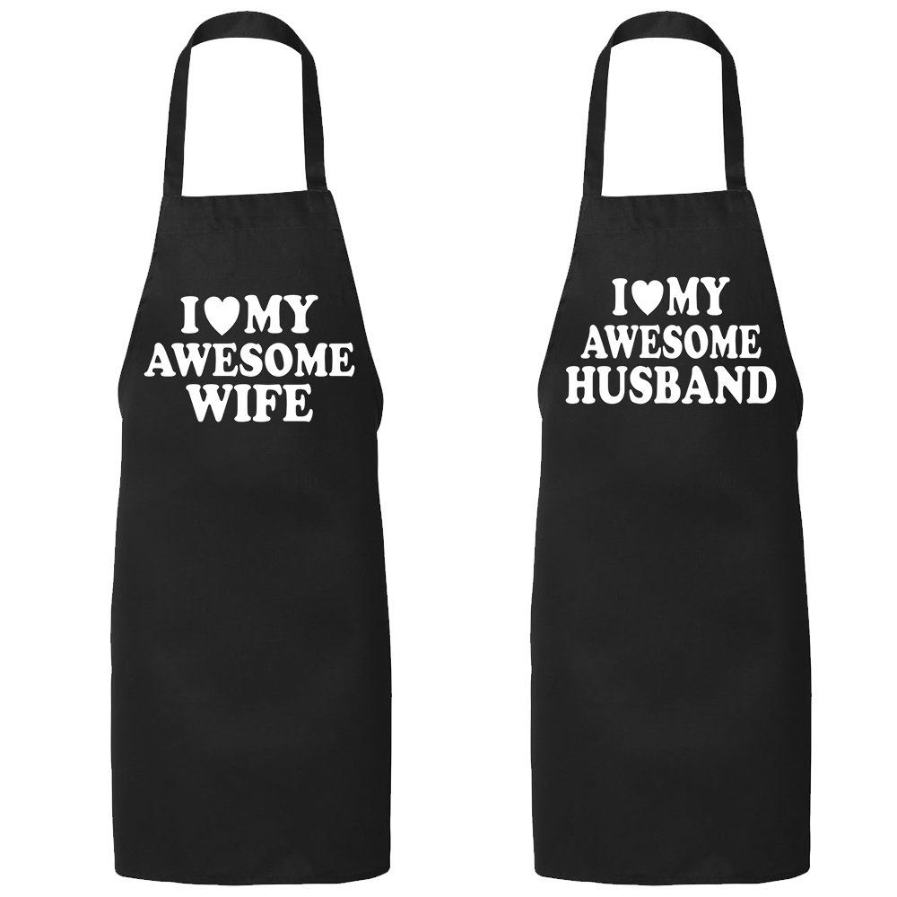 ZXP I Love My Awesome Wife Husband Full-Length Apron Couple Aprons Wedding Engagement Valentines Day Honeymoon Gift for Couple T Shirt - One Size