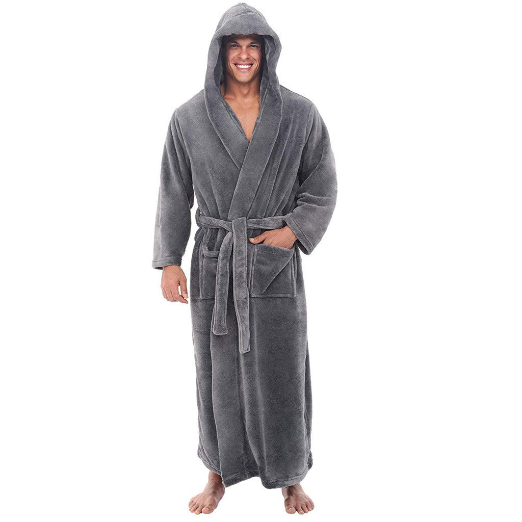 DEATU Sale Men's Bathrobe Big and Tall Plus Size Winter Lengthened Warm Plush Shawl Home Clothes Long Sleeved Robe Coat(Gray,US Size M = Tag L)